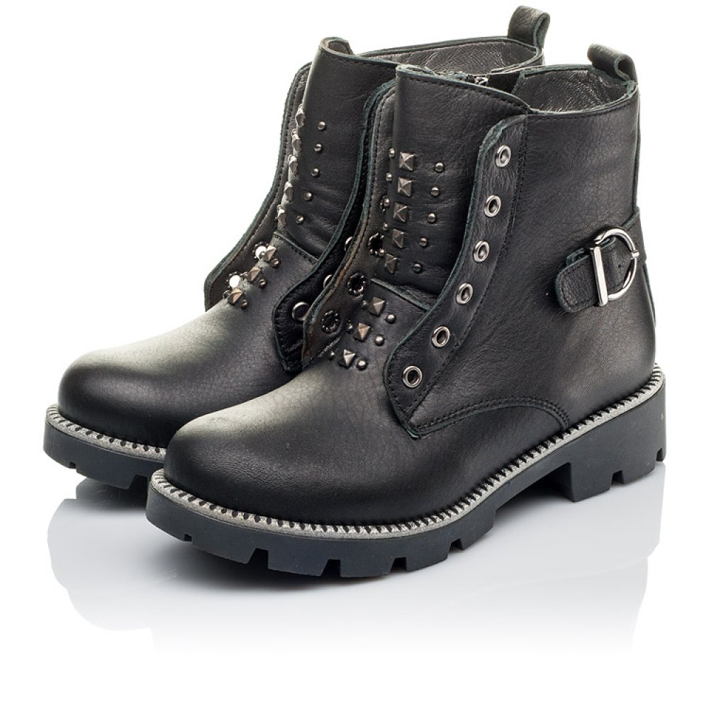 Детские демисезонные ботинки Woopy Orthopedic черные для девочек натуральная кожа размер 31-39 (3855) Фото 3