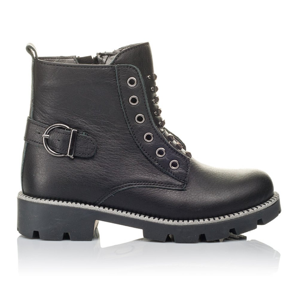Детские демисезонные ботинки Woopy Orthopedic черные для девочек натуральная кожа размер 31-39 (3855) Фото 4