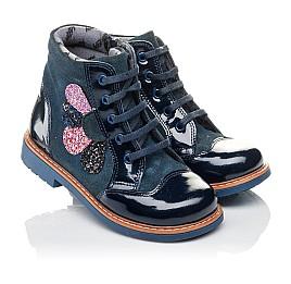 Детские демисезонные ботинки Woopy Orthopedic синие для девочек натуральная лаковая кожа и нубук размер 20-23 (3857) Фото 1