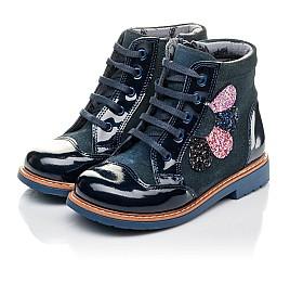 Детские демисезонные ботинки Woopy Orthopedic синие для девочек натуральная лаковая кожа и нубук размер 20-23 (3857) Фото 3