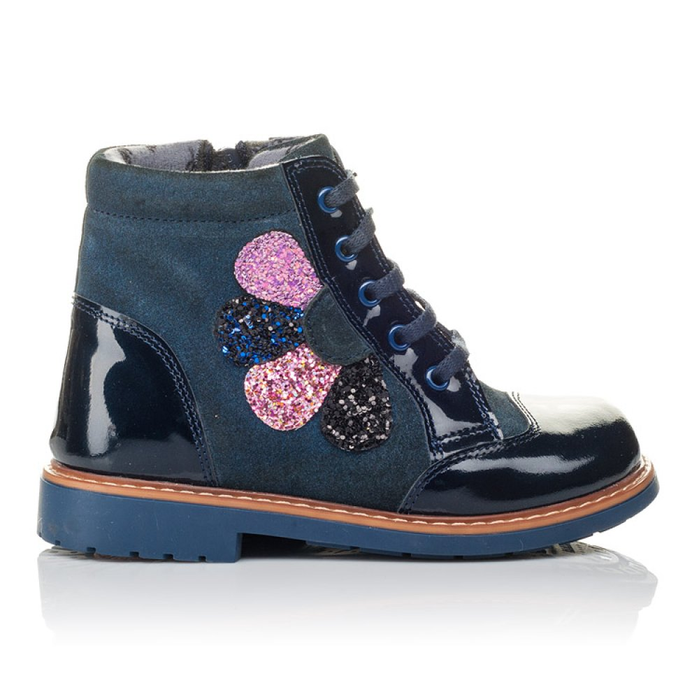 Детские демисезонные ботинки Woopy Orthopedic синие для девочек натуральная лаковая кожа и нубук размер 19-30 (3857) Фото 4