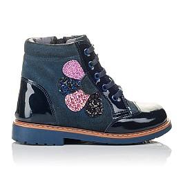 Детские демисезонные ботинки Woopy Orthopedic синие для девочек натуральная лаковая кожа и нубук размер 20-23 (3857) Фото 4
