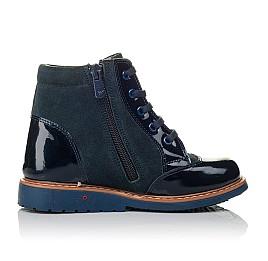 Детские демисезонные ботинки Woopy Orthopedic синие для девочек натуральная лаковая кожа и нубук размер 20-23 (3857) Фото 5