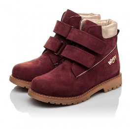 Детские демисезонные ботинки Woopy Orthopedic бордовые для девочек натуральный нубук размер 30-37 (3858) Фото 3
