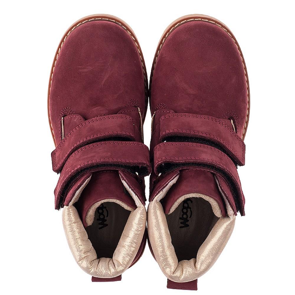 Детские демисезонные ботинки Woopy Orthopedic бордовые для девочек натуральный нубук размер 30-37 (3858) Фото 5