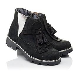 Детские демисезонные ботинки Woopy Orthopedic черные для девочек натуральный нубук размер 31-31 (3859) Фото 1