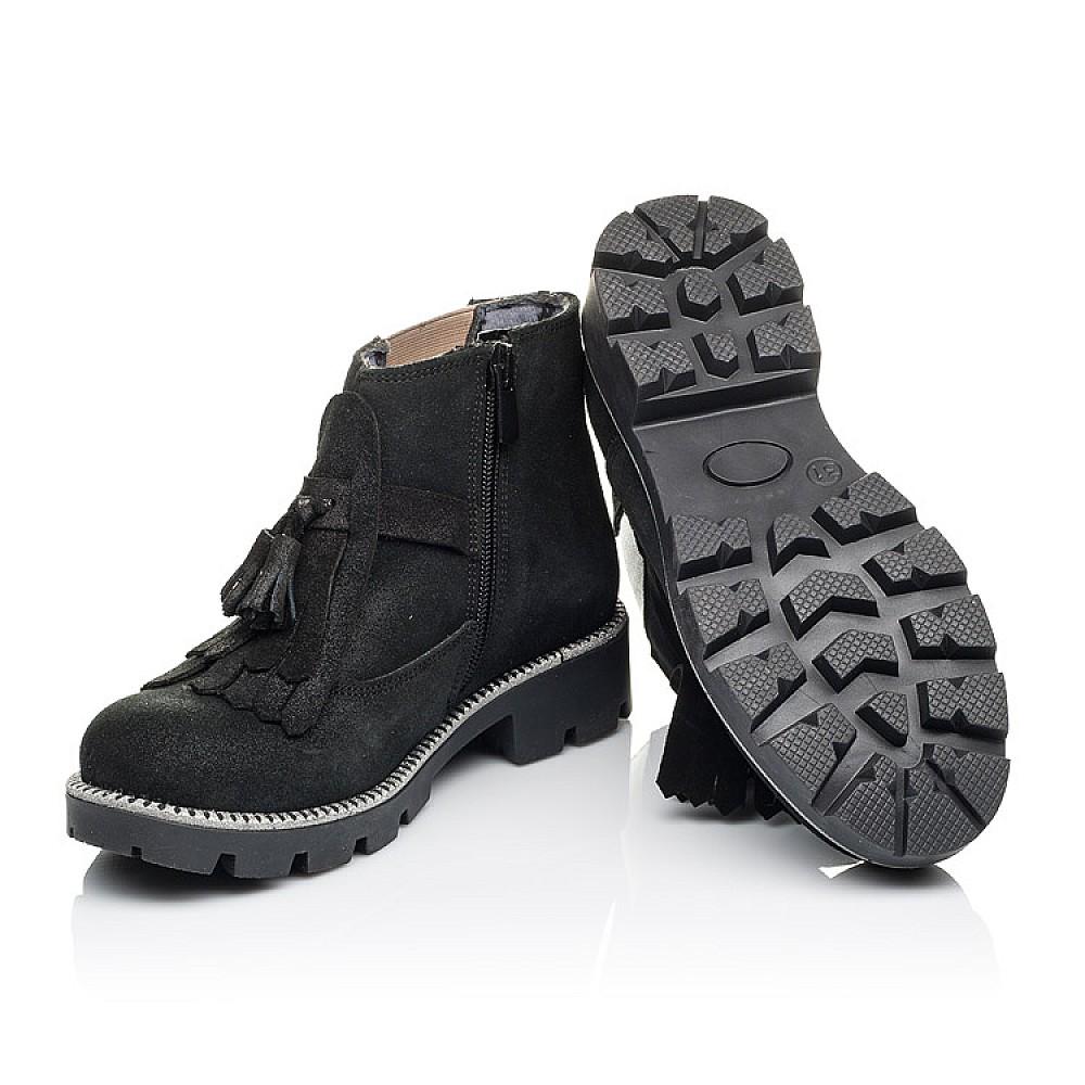 Детские демисезонные ботинки Woopy Orthopedic черные для девочек натуральный нубук размер 31-38 (3859) Фото 2
