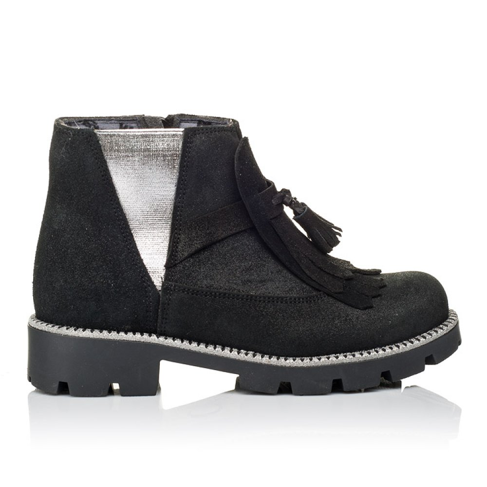 Детские демисезонные ботинки Woopy Orthopedic черные для девочек натуральный нубук размер 31-38 (3859) Фото 4