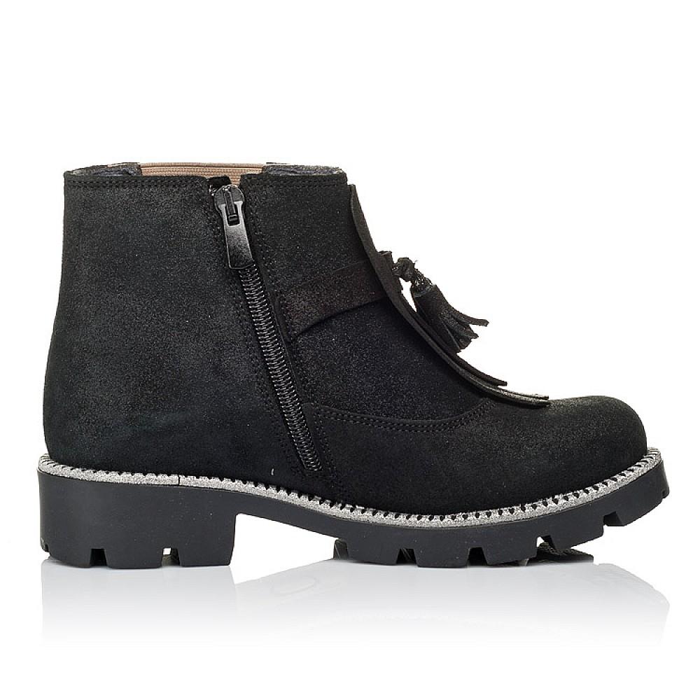 Детские демисезонные ботинки Woopy Orthopedic черные для девочек натуральный нубук размер 31-38 (3859) Фото 5