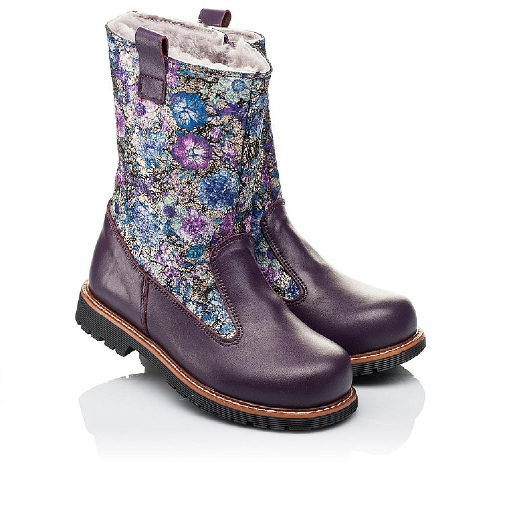 Детские зимние сапожки на меху Woopy Orthopedic фиолетовые для девочек натуральная кожа размер 28-36 (3860) Фото 1