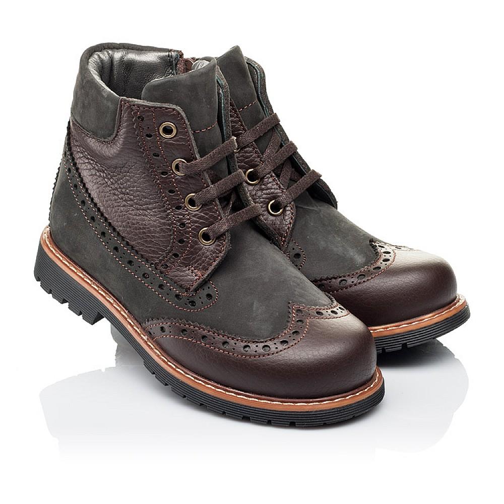 Детские демисезонные ботинки Woopy Orthopedic коричневые для мальчиков натуральная кожа и нубук размер 28-37 (3864) Фото 1