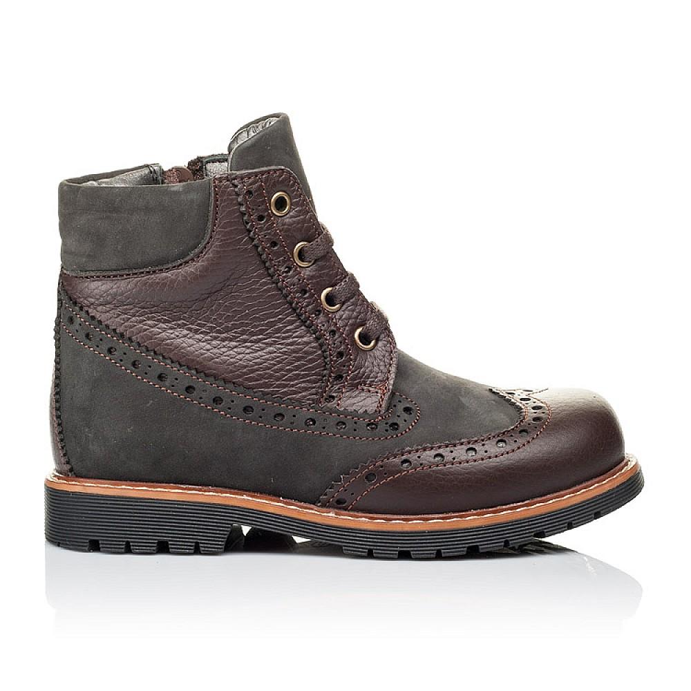 Детские демисезонные ботинки Woopy Orthopedic коричневые для мальчиков натуральная кожа и нубук размер 28-37 (3864) Фото 4