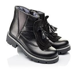 Детские демисезонные ботинки Woopy Orthopedic черные для девочек  натуральная кожа размер 30-39 (3869) Фото 1