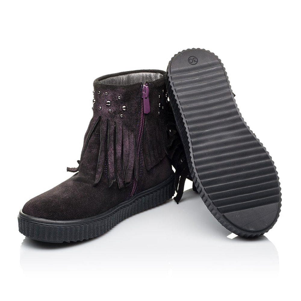 Детские демисезонные ботинки Woopy Orthopedic фиолетовые для девочек натуральная замша размер 25-33 (3870) Фото 2