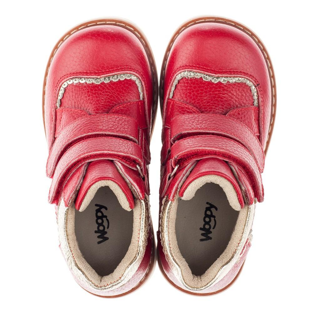 Детские демисезонные ботинки Woopy Orthopedic красные для девочек натуральная кожа размер 19-28 (3872) Фото 5