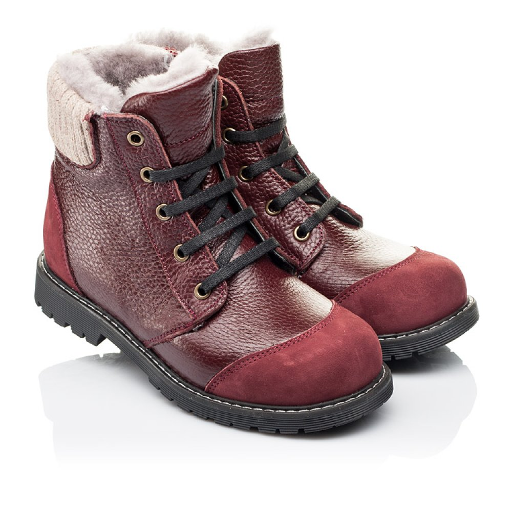 Детские зимние ботинки на меху Woopy Orthopedic бордовые для девочек натуральная кожа и нубук размер 26-38 (3874) Фото 1
