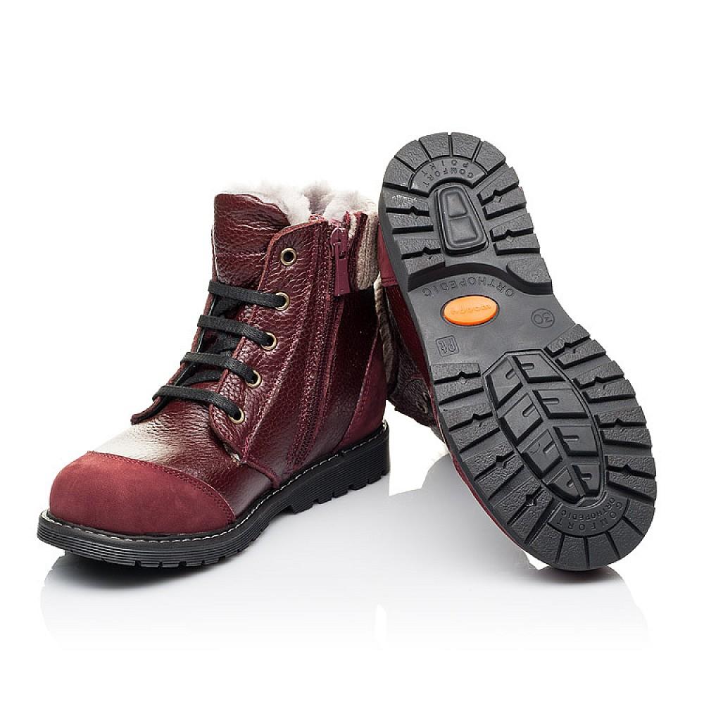 Детские зимние ботинки на меху Woopy Orthopedic бордовые для девочек натуральная кожа и нубук размер 26-38 (3874) Фото 2
