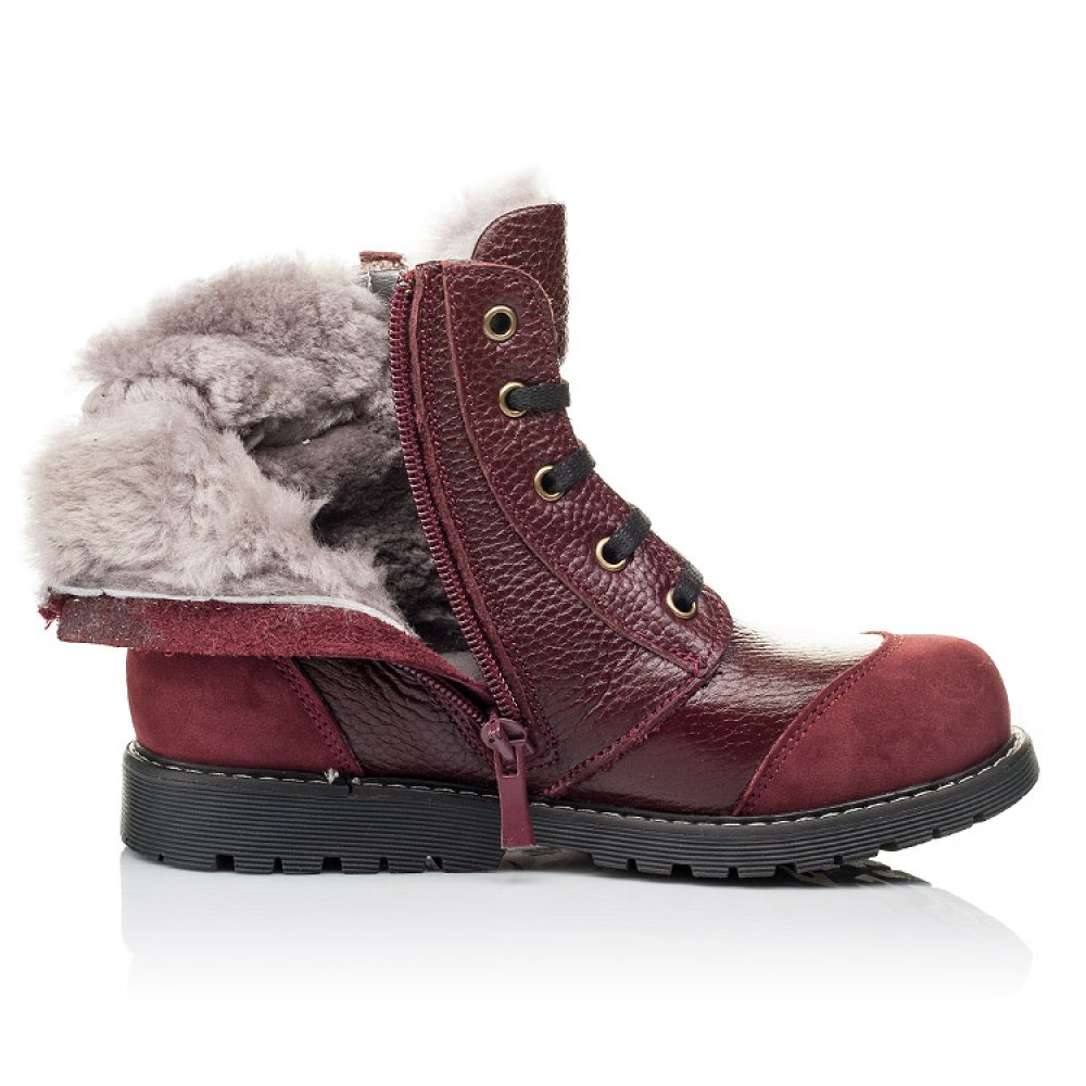Детские зимние ботинки на меху Woopy Orthopedic бордовые для девочек натуральная кожа и нубук размер 26-38 (3874) Фото 5