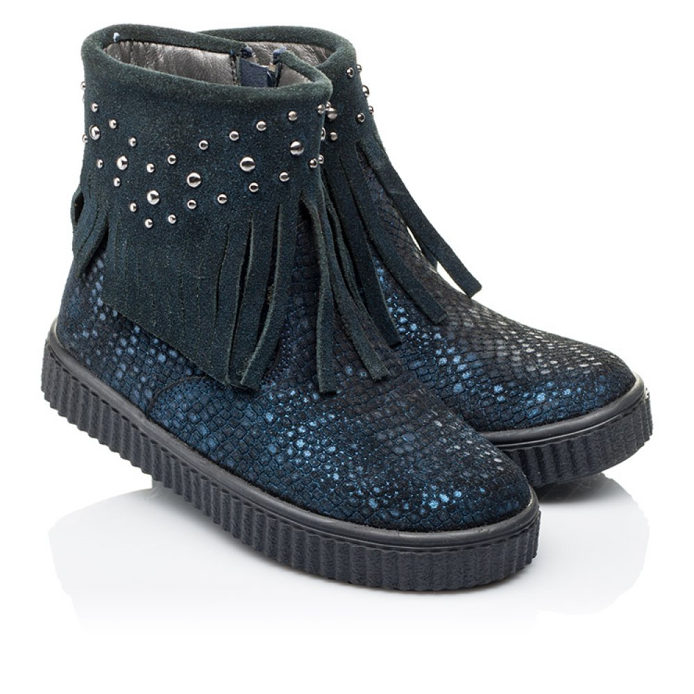 Детские демисезонные ботинки Woopy Orthopedic синие для девочек натуральный нубук размер 28-36 (3875) Фото 1