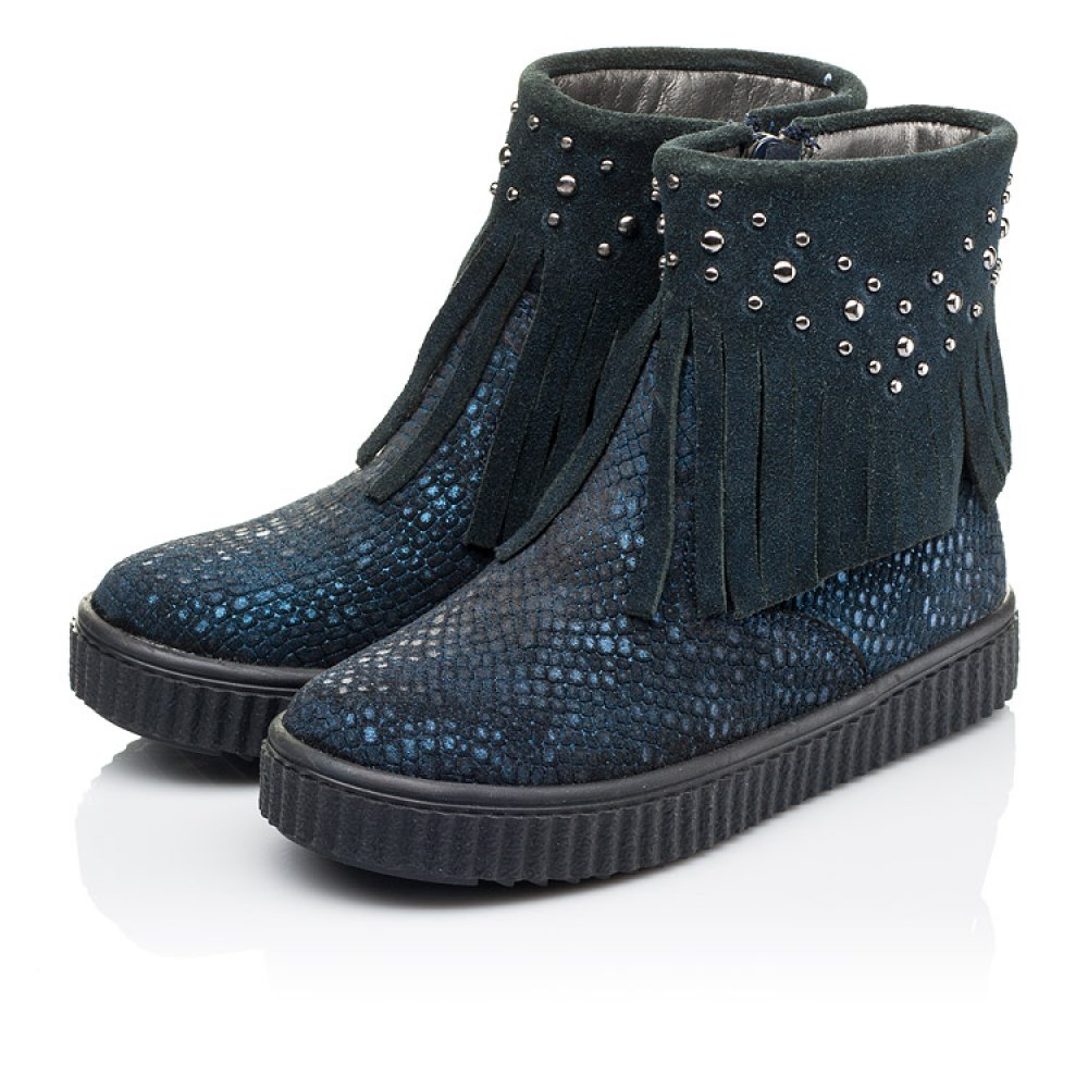 Детские демисезонные ботинки Woopy Orthopedic синие для девочек натуральный нубук размер 28-36 (3875) Фото 4