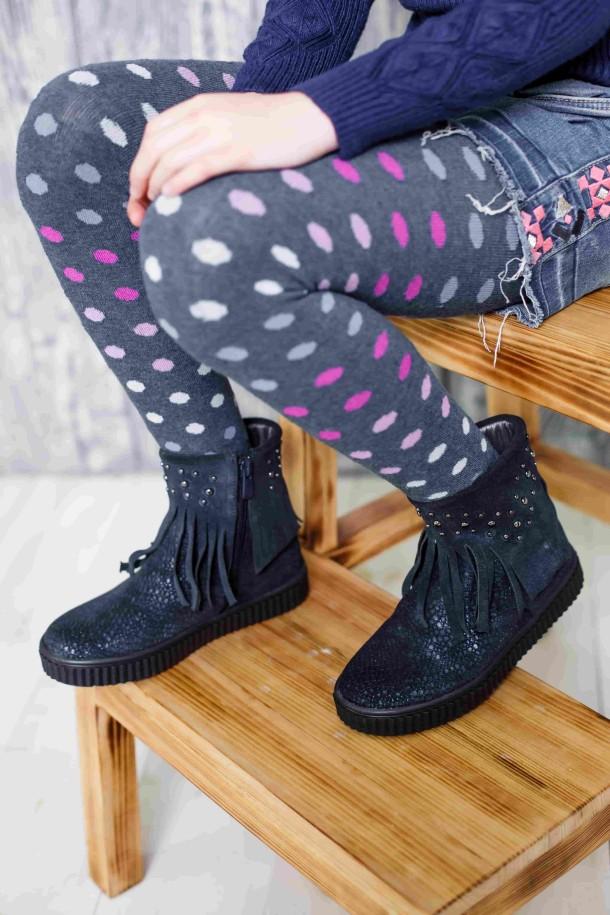 Девочка обута в детские демисезонные ботинки Woopy Orthopedic синие (3875) Фото 2