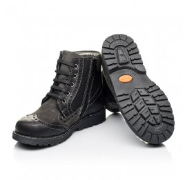 Детские демисезонные ботинки Woopy Orthopedic черные для мальчиков  натуральная кожа и нубук размер 31-37 (3876) Фото 2