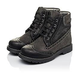 Детские демисезонные ботинки Woopy Orthopedic черные для мальчиков  натуральная кожа и нубук размер 31-37 (3876) Фото 3