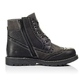 Детские демисезонные ботинки Woopy Orthopedic черные для мальчиков  натуральная кожа и нубук размер 31-37 (3876) Фото 5