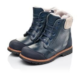 Детские зимние ботинки на меху Woopy Orthopedic синие для мальчиков  натуральная кожа размер 26-26 (3877) Фото 3