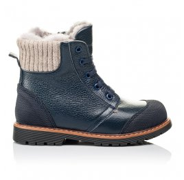 Детские зимние ботинки на меху Woopy Orthopedic синие для мальчиков  натуральная кожа размер 26-26 (3877) Фото 4