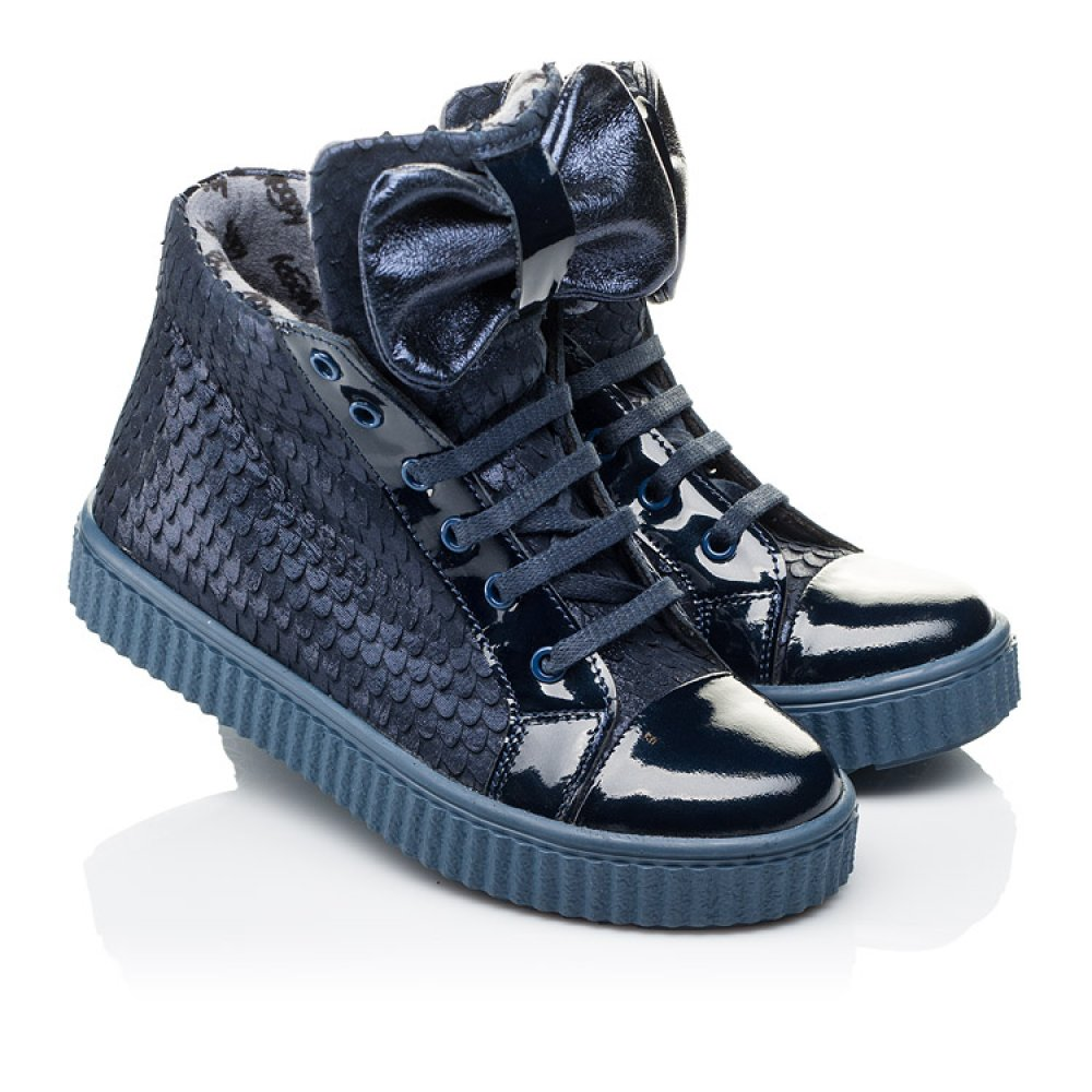 Детские демисезонные ботинки Woopy Orthopedic синие для девочек лаковая кожа, нубук размер 28-38 (3881) Фото 1