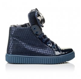 Детские демисезонные ботинки Woopy Orthopedic синие для девочек лаковая кожа, нубук размер 28-38 (3881) Фото 4