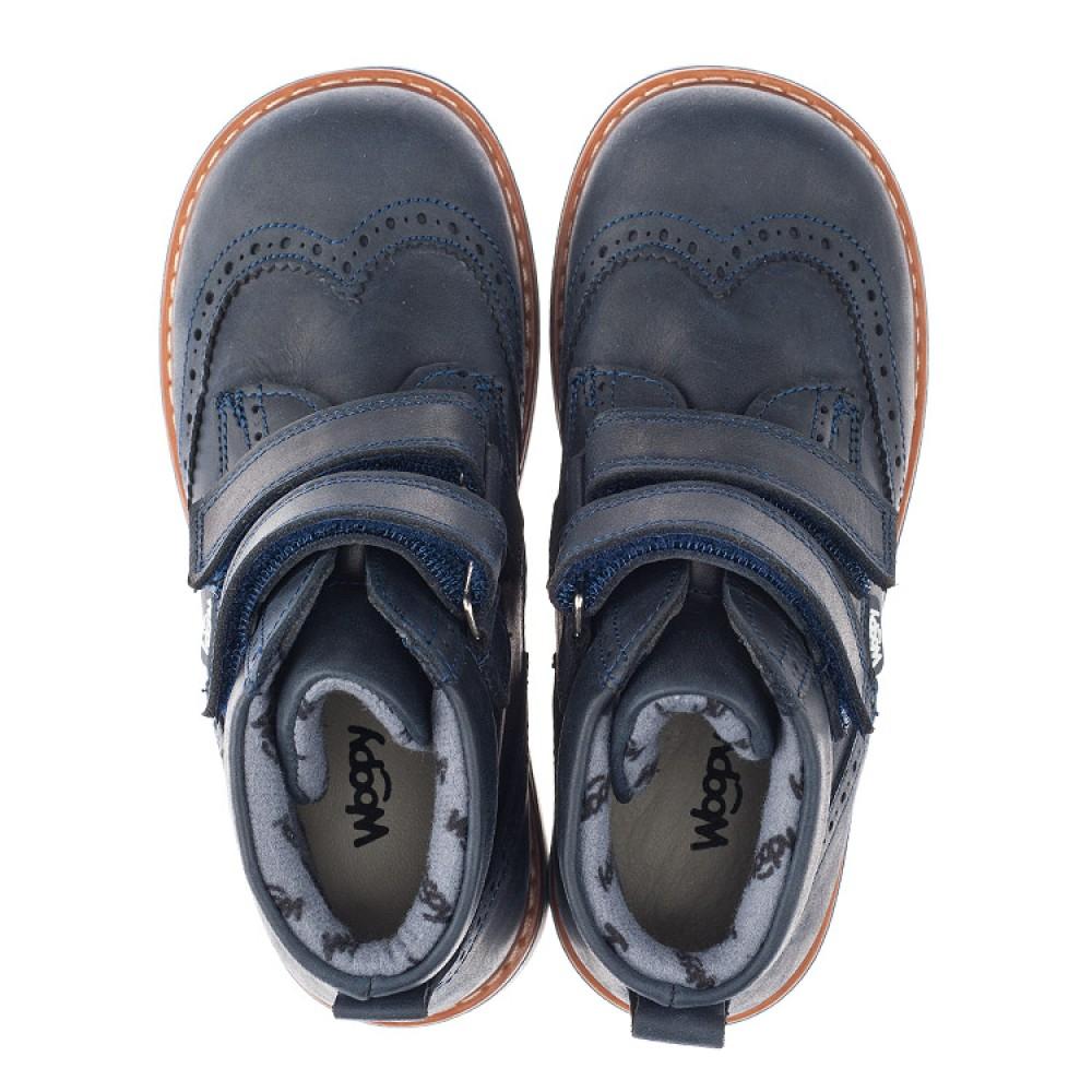 Детские демисезонные ботинки Woopy Orthopedic синие для мальчиков натуральный нубук размер 21-30 (3882) Фото 5