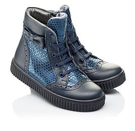 Детские демисезонные ботинки Woopy Orthopedic синие для девочек  натуральная кожа и нубук размер 30-38 (3883) Фото 1