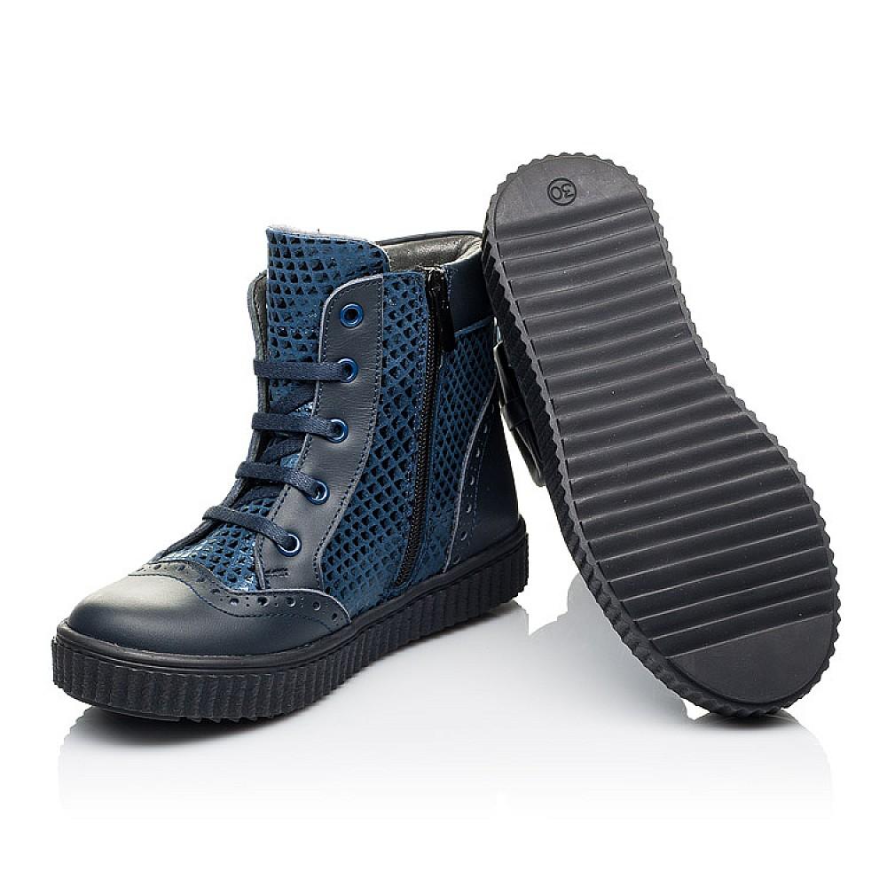 Детские демисезонные ботинки Woopy Orthopedic синие для девочек натуральная кожа и нубук размер 30-38 (3883) Фото 2