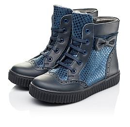 Детские демисезонные ботинки Woopy Orthopedic синие для девочек  натуральная кожа и нубук размер 30-38 (3883) Фото 3