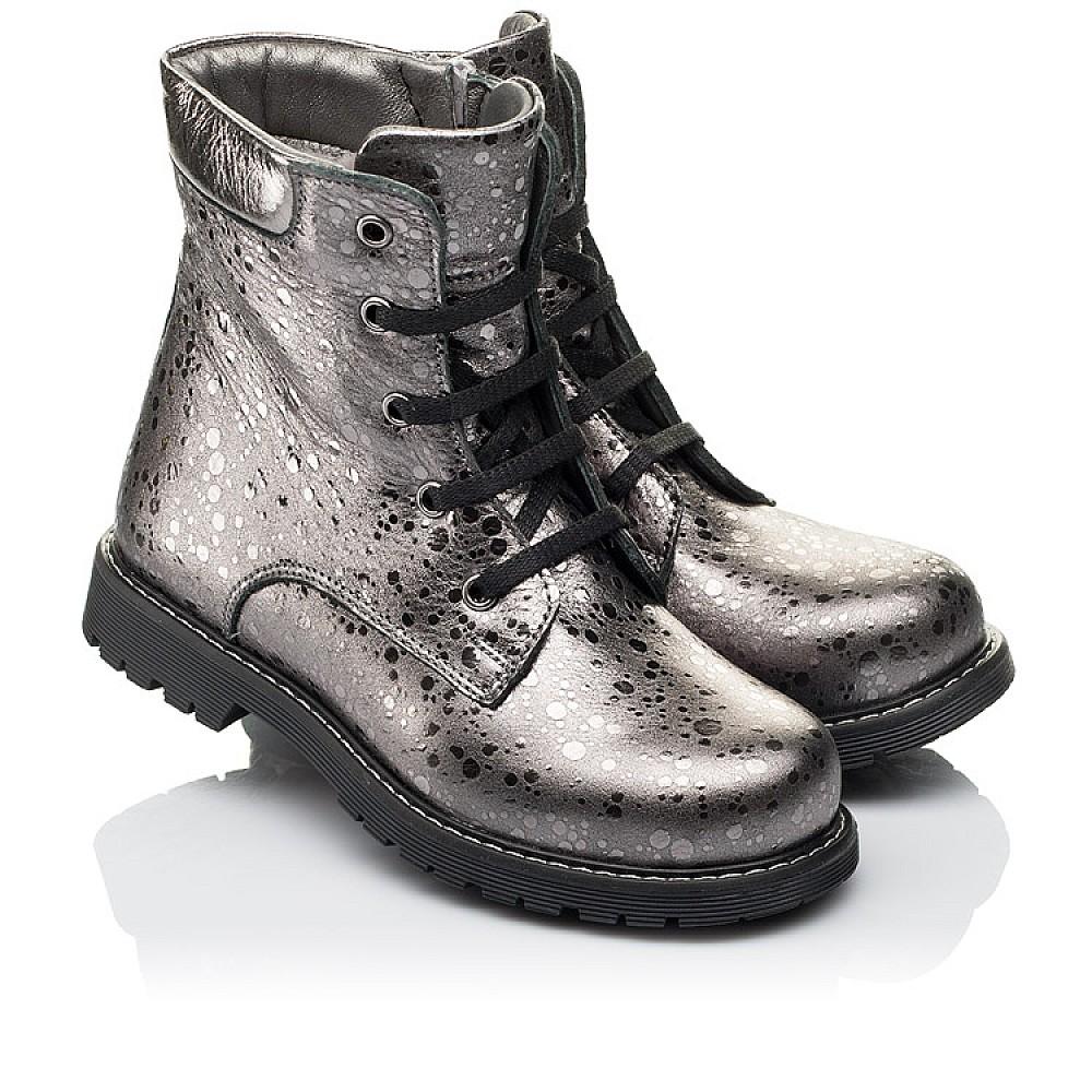 Детские зимние ботинки на меху Woopy Orthopedic серебряные для девочек натуральная кожа размер 26-36 (3884) Фото 1