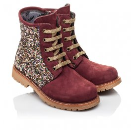 Детские демисезонные ботинки Woopy Orthopedic бордовые для девочек натуральный нубук и искусственный материал размер 24-33 (3885) Фото 1