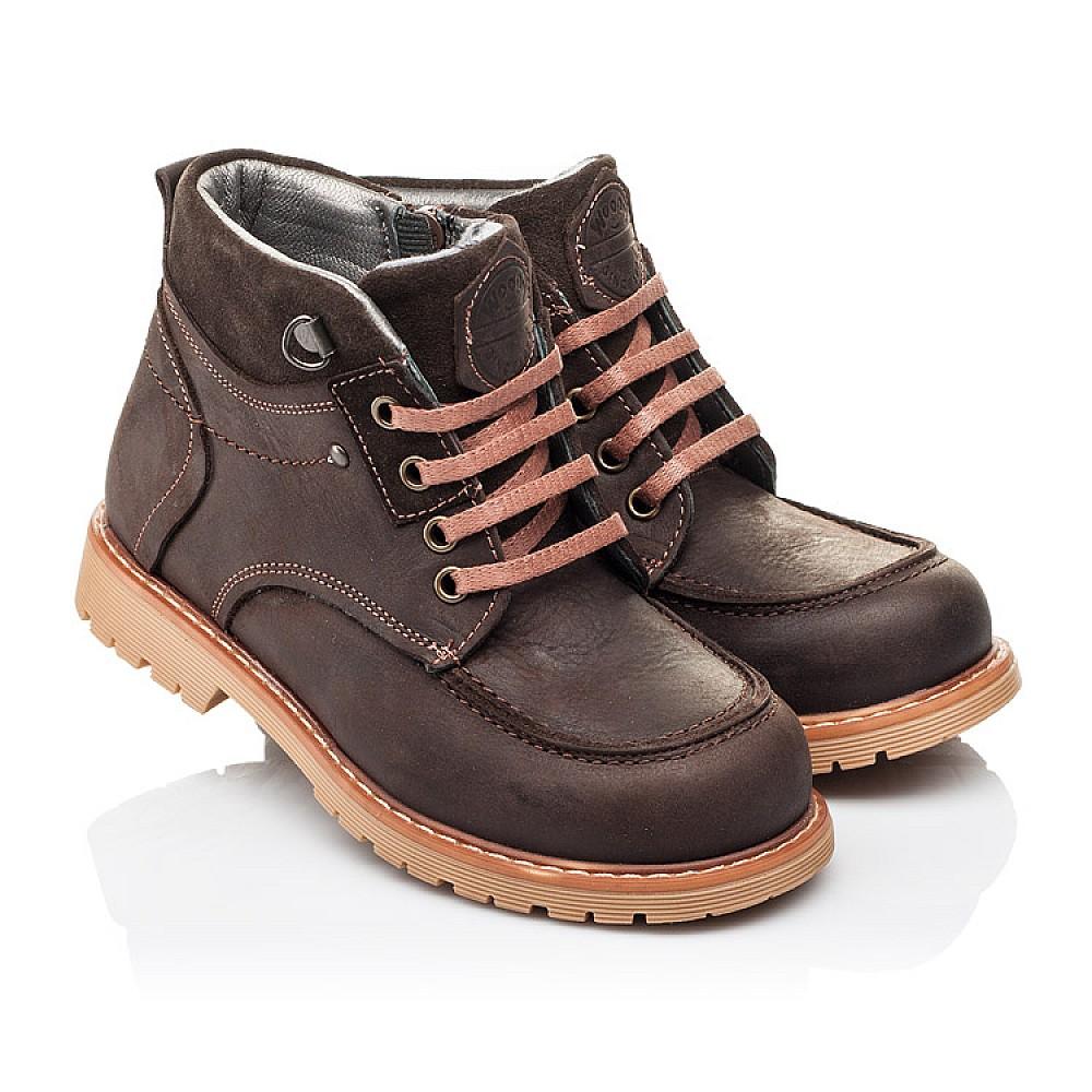 Детские демисезонные ботинки Woopy Orthopedic коричневые для девочек натуральная кожа размер 28-34 (3886) Фото 1