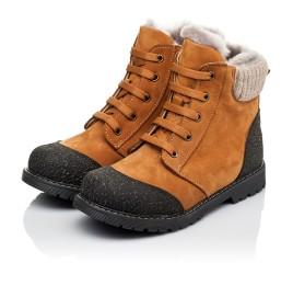Детские зимние ботинки на меху Woopy Orthopedic рыжие для мальчиков натуральный нубук размер 25-31 (3887) Фото 3