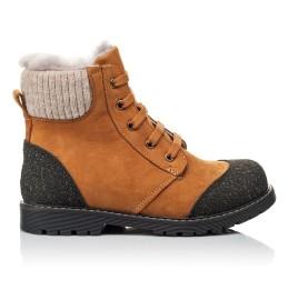Детские зимние ботинки на меху Woopy Orthopedic рыжие для мальчиков натуральный нубук размер 25-31 (3887) Фото 4