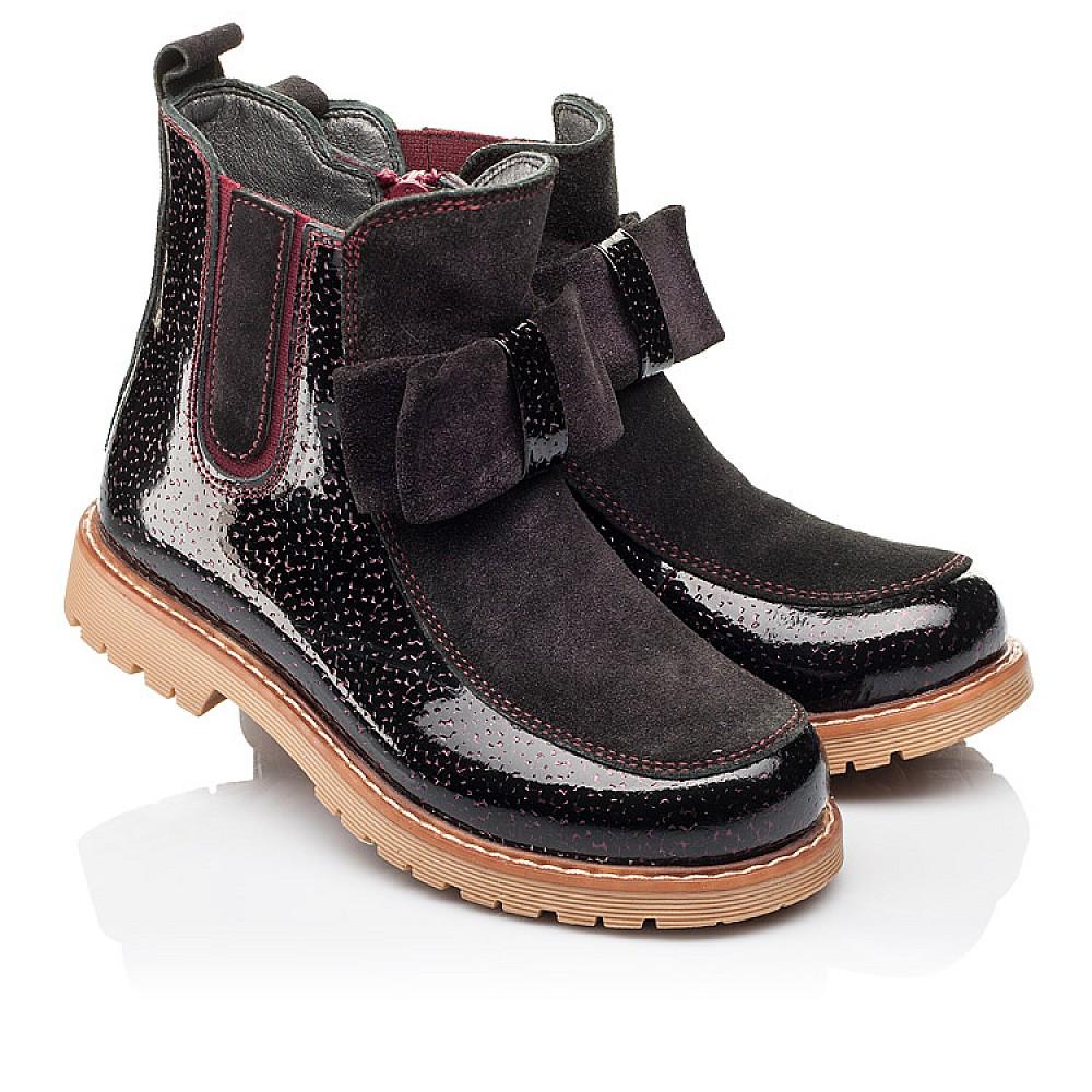 Детские демисезонные ботинки Woopy Orthopedic бордовые для девочек натуральная лаковая кожа и замша размер 23-33 (3888) Фото 1