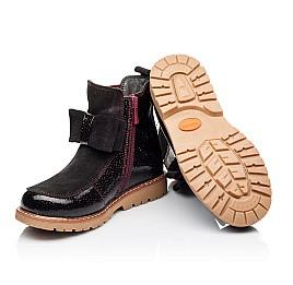 Детские демисезонные ботинки Woopy Orthopedic бордовые для девочек натуральная лаковая кожа и замша размер 23-33 (3888) Фото 2