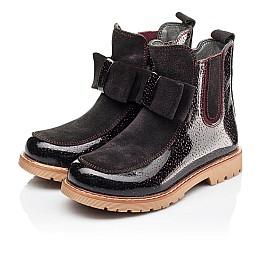 Детские демисезонные ботинки Woopy Orthopedic бордовые для девочек натуральная лаковая кожа и замша размер 23-33 (3888) Фото 3