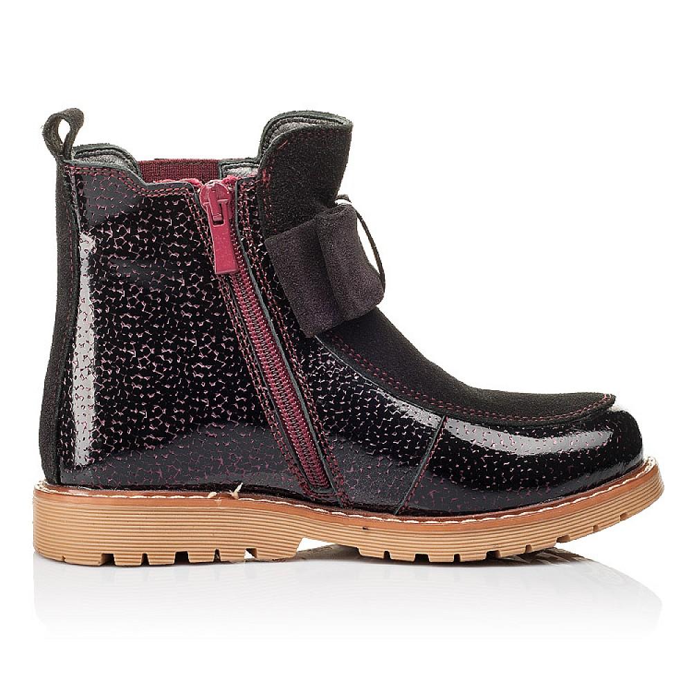 Детские демисезонные ботинки Woopy Orthopedic бордовые для девочек натуральная лаковая кожа и замша размер 23-33 (3888) Фото 5