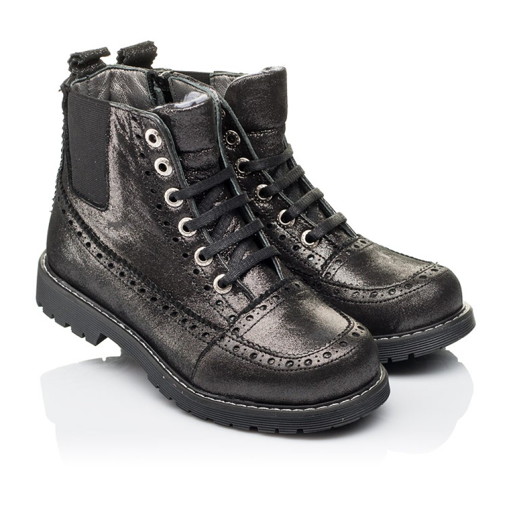 Детские демисезонные ботинки Woopy Orthopedic серебряные для девочек натуральная кожа размер 26-40 (3893) Фото 1