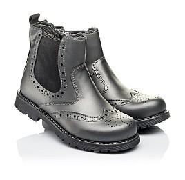 Детские демисезонные ботинки Woopy Orthopedic серые для девочек натуральная кожа размер 30-40 (3900) Фото 1