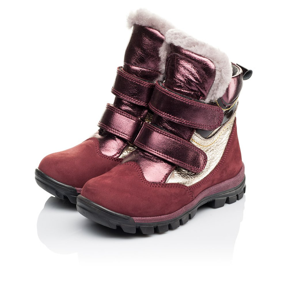 Детские зимние сапожки на меху Woopy Orthopedic бордовые для девочек натуральный нубук размер 21-33 (3901) Фото 3