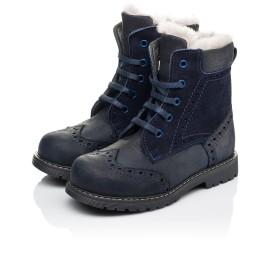 Детские зимние ботинки на меху Woopy Orthopedic синие для мальчиков натуральный нубук размер 26-31 (3902) Фото 3