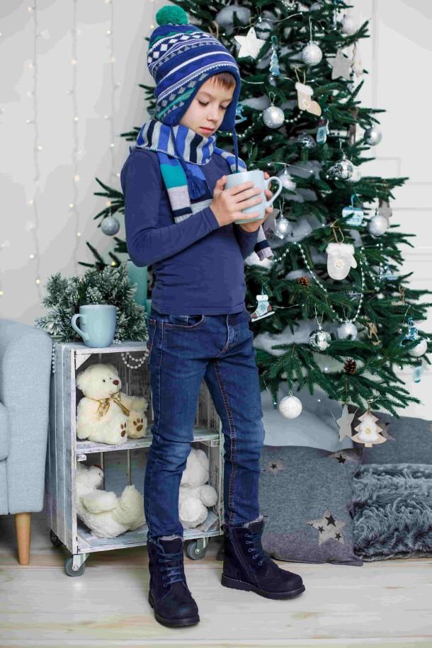 Мальчик обут в детские зимние ботинки на меху Woopy Orthopedic синие (3902) Фото 1